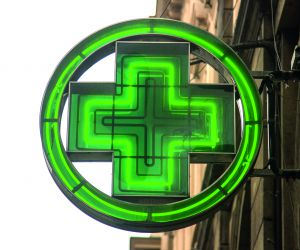 Pharmacy sign on the street